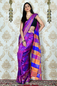 BLUE AND PINK CHECK KATAN SILK WITH MULTICOLOUR PALLU WITH ZARI BORDER