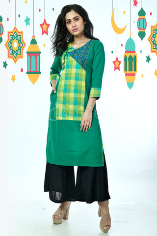Green Front Checkered Pure Cotton Kurti