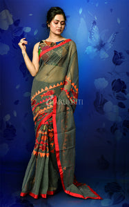 BLACK AND RED RESHAM CHECK WITH WORK IN MIDDLE AND PALLU