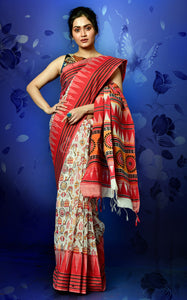 RED AND OFFWHITE KETIA COTTON SAREE WITH TEMPLE BORDER