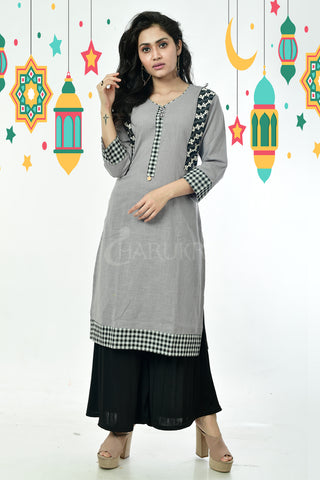 Grey Pure Cotton Kurti Side Patch Thread work