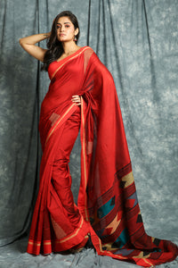 Temple Design Red Handloom Saree With Weaving Pallu