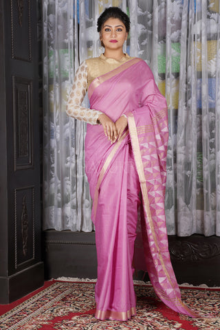 AORORA PINK BLENDED COTTON SAREE WITH GEOMETRIC PALLU