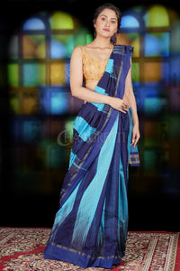 SKY BLUE AND NAVY BLUE IKKAT WEAVING BLENDED COTTON SAREE WITH ZARI PALLU