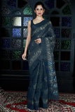 DARK BLUISH GREY BLENDED GHEECHA WITH BATIK PRINT