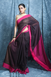 Brown Color Cotton Handloom Saree with Pink Border And Pallu