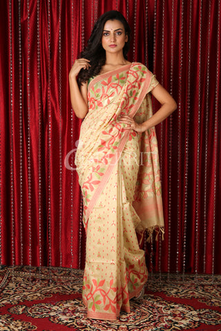 Off-White Floral Motif Saree
