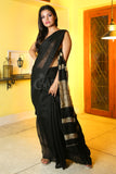 BLACK BLENDED COTTON SAREE WITH GHEECHA PALLU