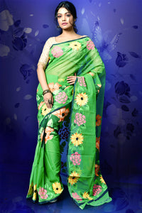 MULTI COLOR  HAND PAINT ON PASTEL GREEN RESHAM CHECK