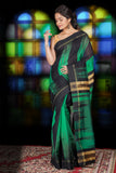 BLACK AND GREEN IKKAT WEAVING BLENDED COTTON SAREE WITH ZARI PALLU