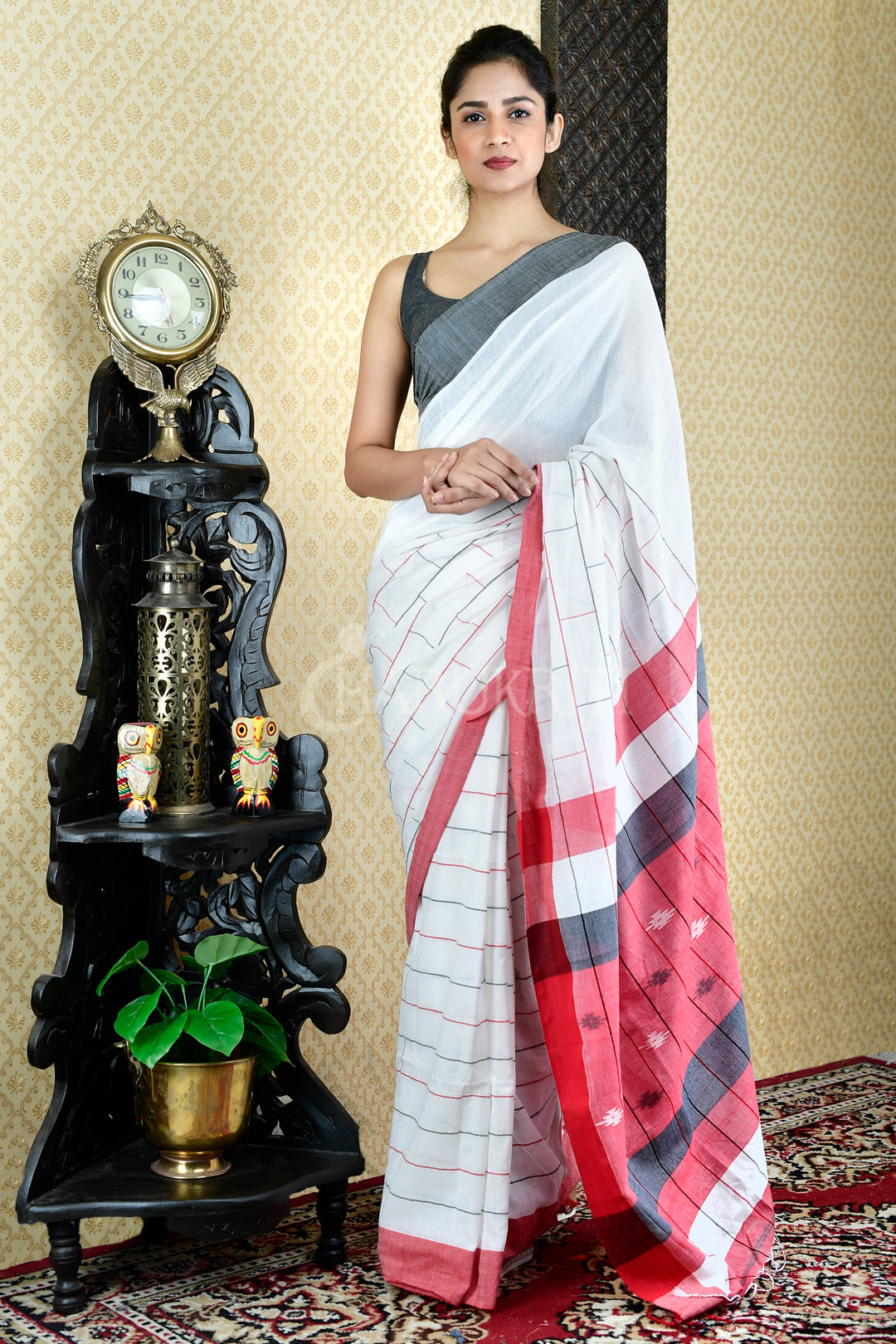 WHITE PURE COTTON SAREE WITH ALL OVER WOVEN DESIGN AND PALLU