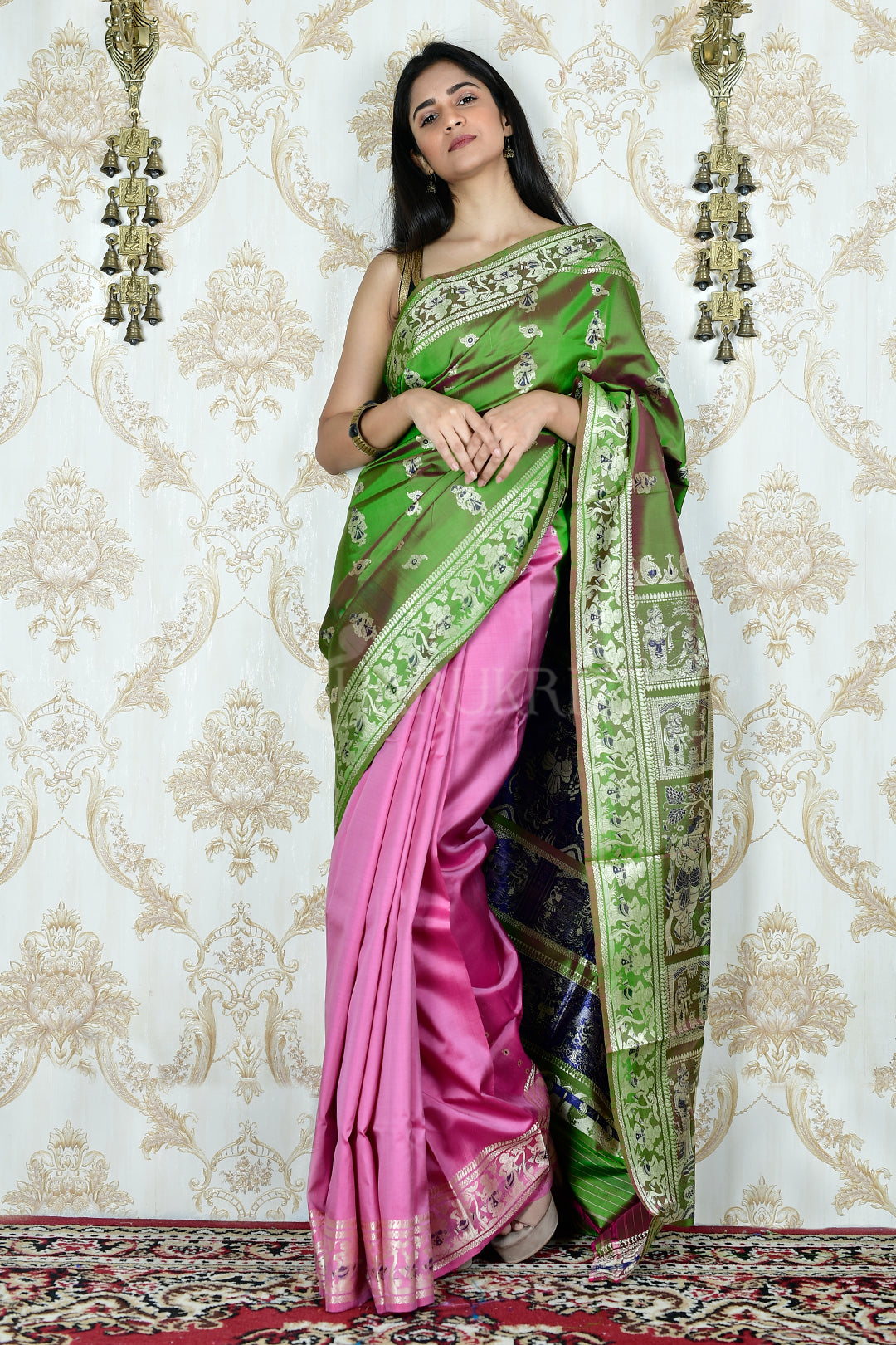 SHAMROCK GREEN AND PINK DUAL TONE WEVED KATAN SILK BALUCHARI