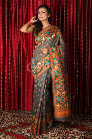 Grey Floral Motif Saree