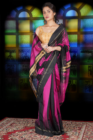 PINK AND BLACK IKKAT WEAVING BLENDED COTTON SAREE WITH ZARI PALLU
