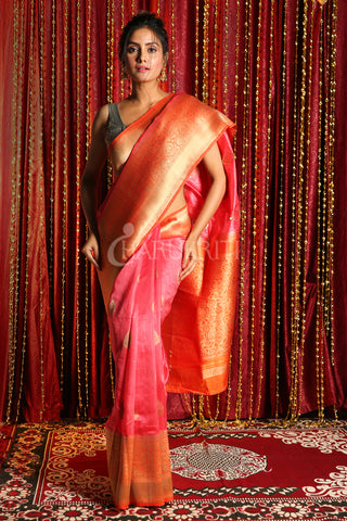 PINK AND ORANGE  ZARI WEAVED TUSSAR BANARASI SAREE