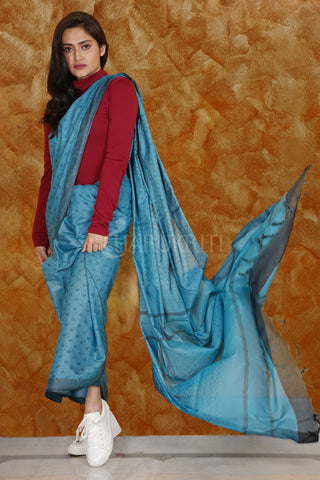 CORNFLOWER BLUE KORA SILK SAREE WITH WOVEN DESIGN