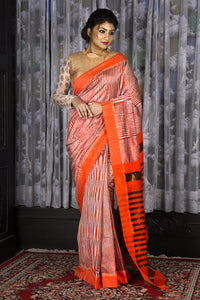 STEEL AND ORANGE IKKAT TEXTURED SAREE WITH ZARI PALLU