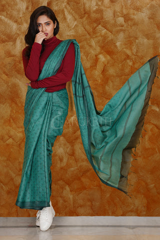 TEAL BLUE KORA SILK SAREE WITH WOVEN DESIGN
