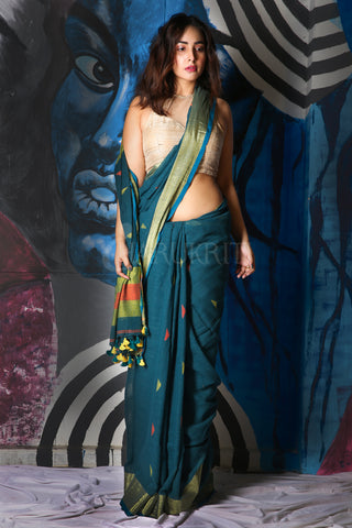 DARK TEAL BLUE COTTON BLENDED LINEN SAREE WITH ZARI BORDER AND PALLU