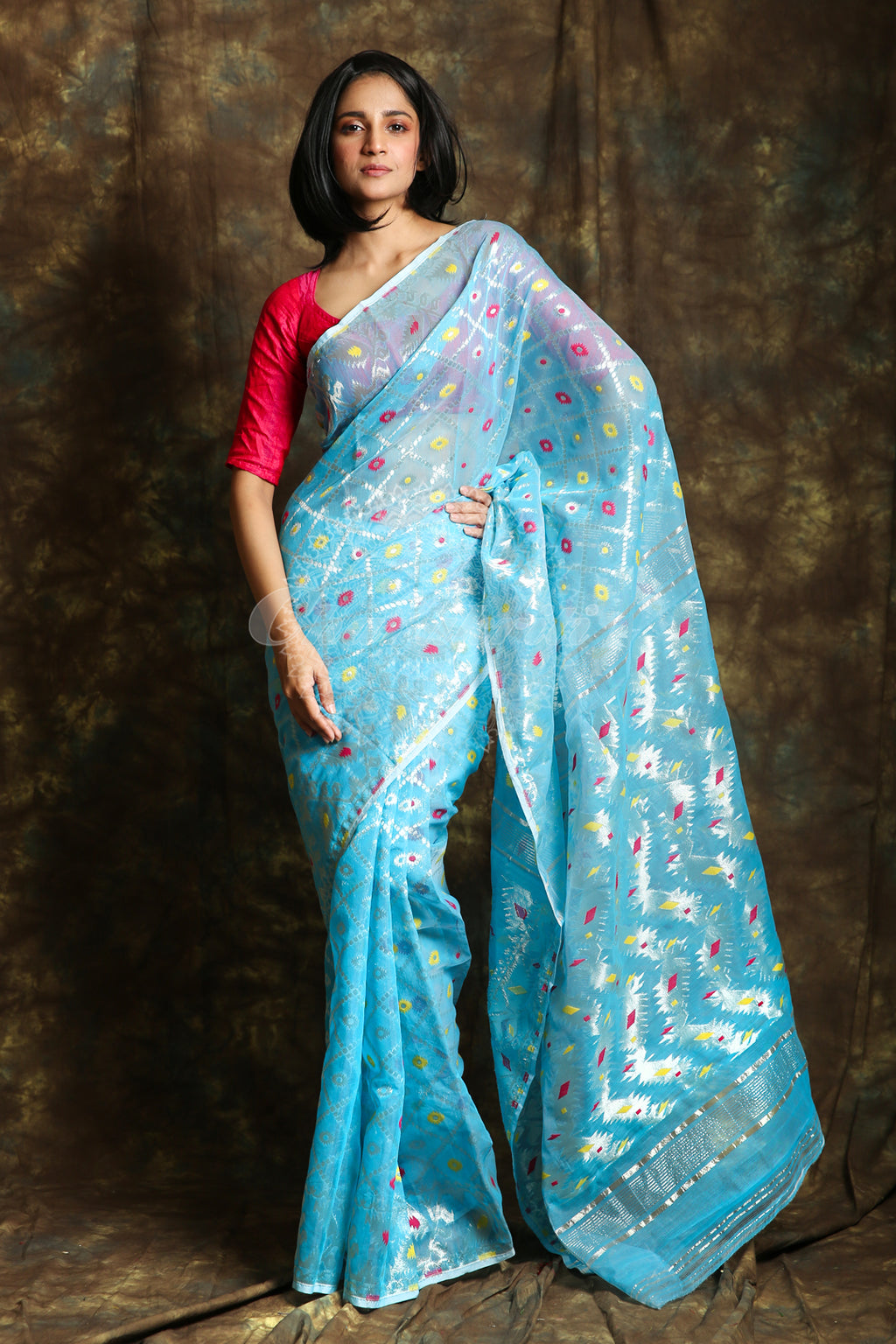 This Sky Blue Jamdani Saree By Charukriti Is Crafted In Cotton And Features Silver Zari Minakari Weaving Details All Over - charukriti.co.in