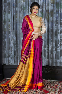 RAISIN PURPLE BLENDED COTTON SAREE WITH MULTICOLOR BORDER AND MELLOW YELLOW PALLU