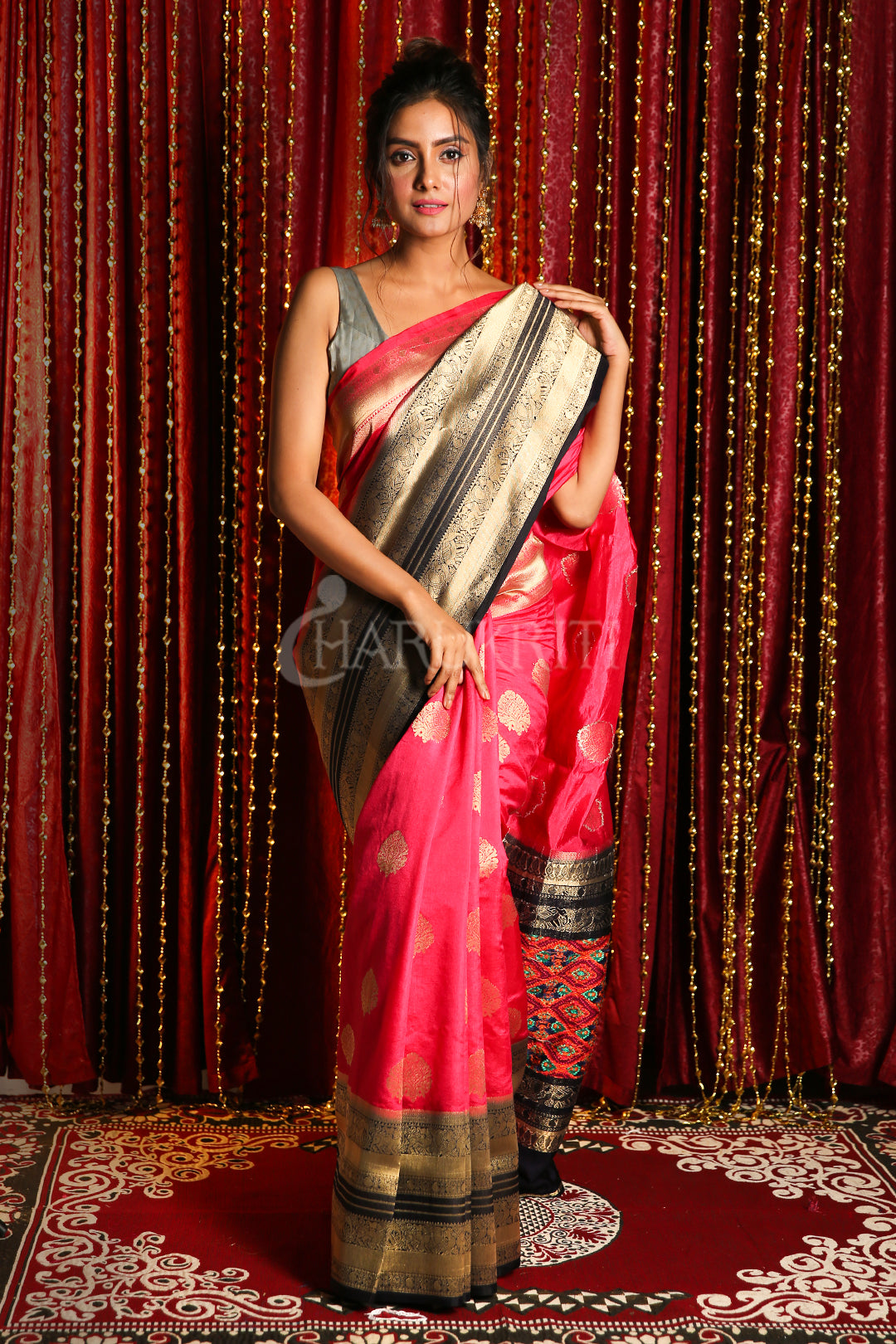 PINK MANIPURI KOTKI GARDWAL SAREE WITH DARK BLUE ZARI BORDER AND PALLU