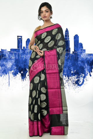 BLACK BENARAS HANDLOOM SAREE WITH PINK BORDER AND WEAVE PALLU