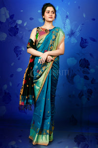 EGYPTIAN BLUE AND BLACK BLENDED COTTON SAREE WITH JAMDANI AND ZARI BORDER