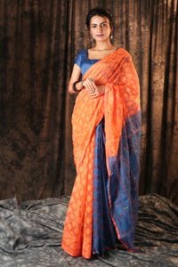 ORANGE HALF & HALF jAMDANI WITH BLUE PALLU