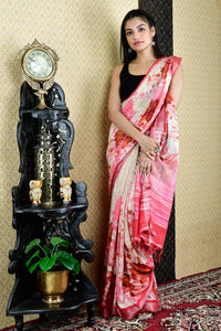 OFF WHITE AND PINK FLORAL PRINTED COTTON BLENDED LINEN WITH ZARI BORDER