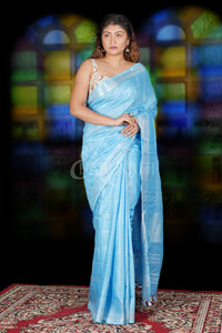 SKY BLUE CHECKERED LINEN SAREE WITH ZARI BORDER