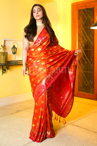 Fiery Orange Dual Tone Woven Patola Saree With Golden Pallu- Charukriti.co.in