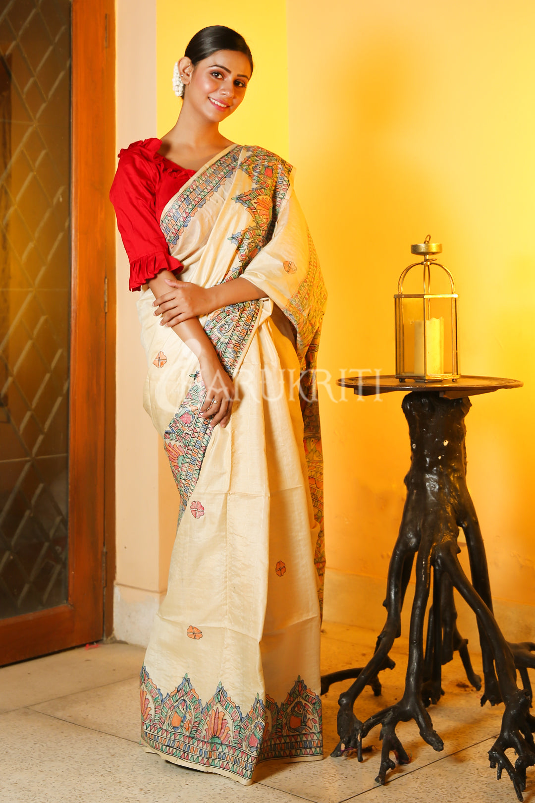 BEIGE TUSSAR SAREE WITH MULTICOLORED MADHUBANI PAINT