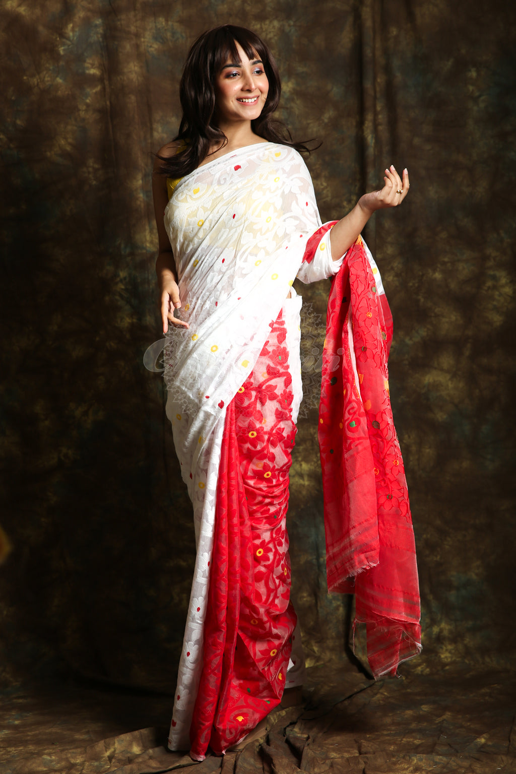 This White And Red Jamdani Saree By Charukriti Is Crafted In Cotton And Features Thread Weaving Details All Over - Charukriti.co.in