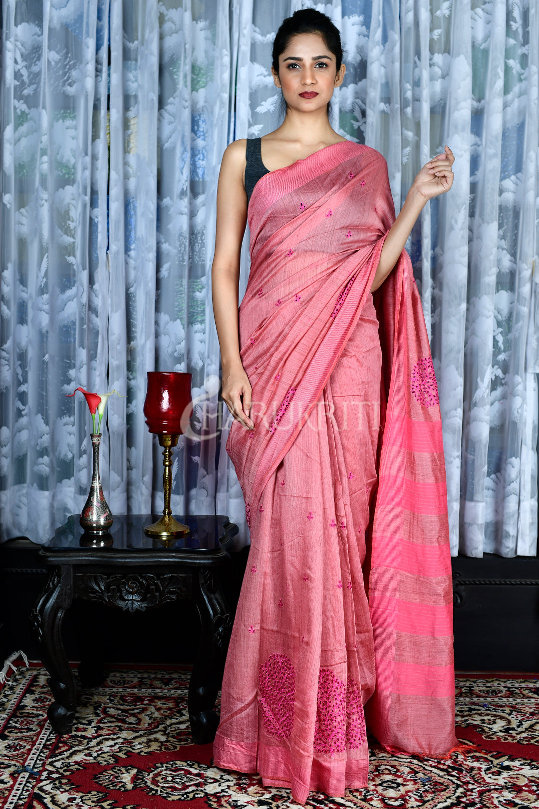 ROUGE PINK BLENDED MATKA WITH JAAL CUT EMBROIDERY