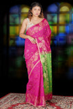 ROYAL PINK SAREE WITH PEACOCK MOTIF WEAVED BORDER & GREEN PALLU