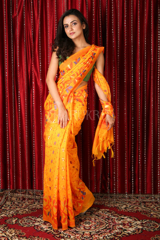 Yellow Floral Motif Saree