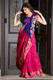 MAGENTA AND NAVY BLUE BLENDED SAREE WITH JAMDANI BORDER