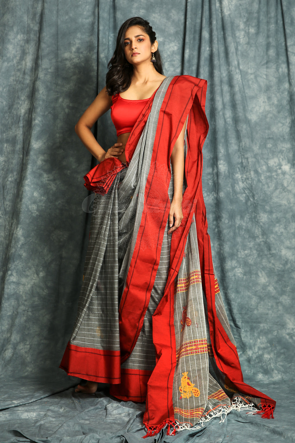 Grey Handloom Saree With Allover Stripes And Multicolour Thread Weaving - Charukriti.co.in