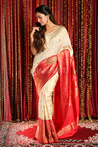 OFF-WHITE FLORAL ZARI WEAVED SEMI BANARASI SAREE WITH RED BOREDER AND PALLU