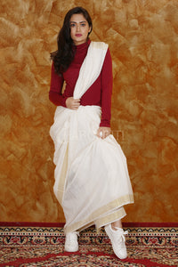 WHITE PURE COTTON SAREE WITH GOLDEN BORDER