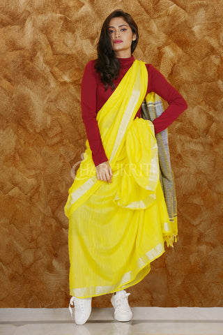 YELLOW PURE COTTON SAREE WITH SILVER BORDER