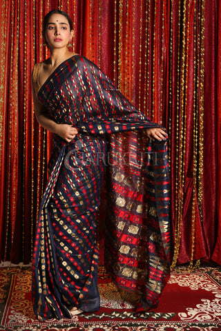 MIDNIGHT BLUE BANARAS JAMDANI SAREE WITH ALL OVER MULTICOLORED ZARI WOVEN DESIGN