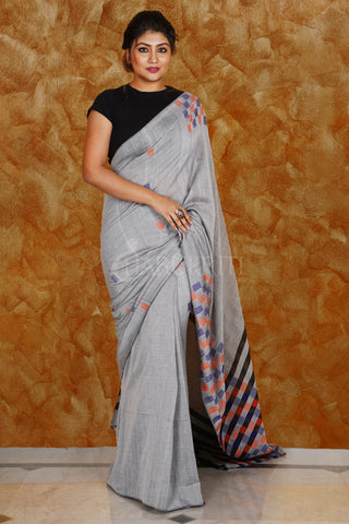 STEEL GREY BLENDED COTTON SAREE WITH BOX DESIGN ON PALLU