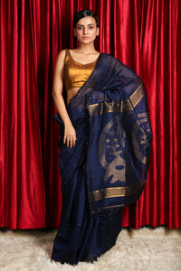 Navy Blue Sequence Handloom Saree with Rich Pallu