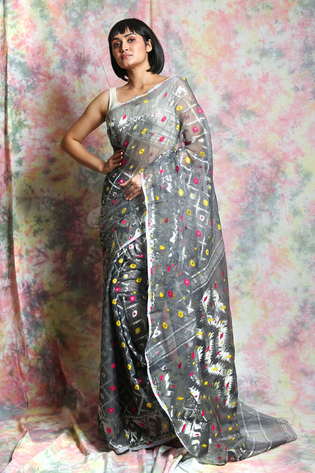 This Grey Jamdani Saree By Charukriti Is Crafted In Cotton And Features Silver Zari Minakari Weaving Details All Over - charukriti.co.in