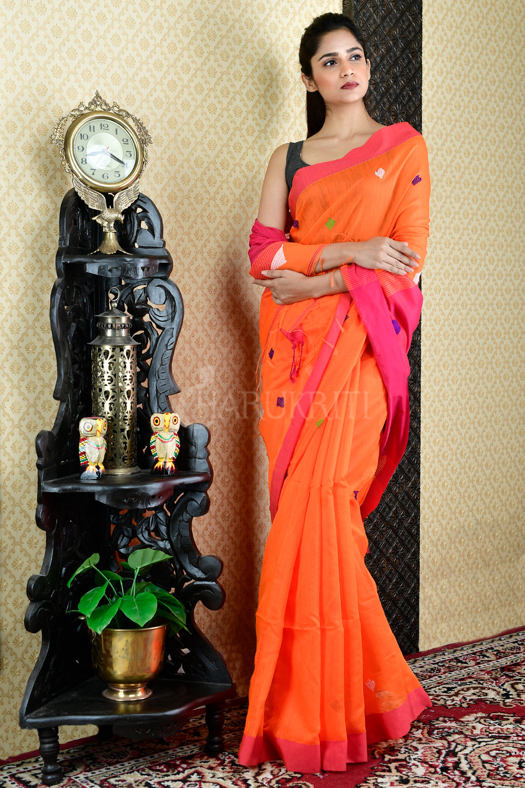 ORANGE BLENDED COTTON SAREE WITH DEEP PINK PALLU