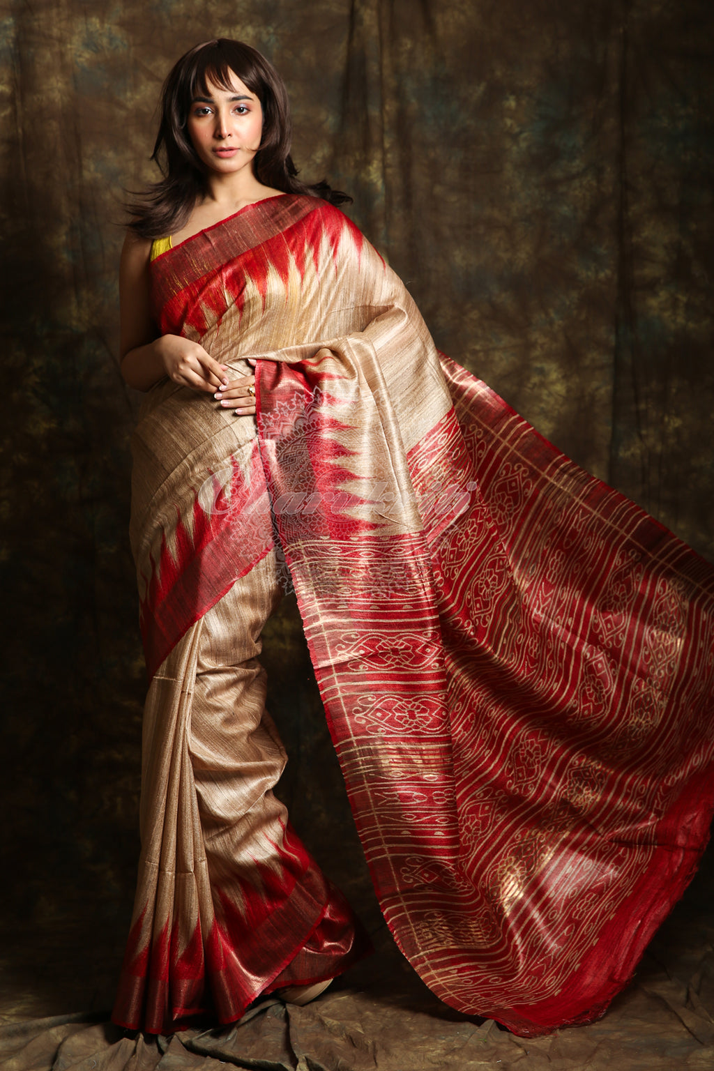 The Pure Ghicha Tussar Based Beige Color Saree. The Pallu Have Maroon Color Hand Printed Work And Temple Border - charukriti.co.in