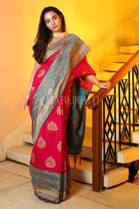 PINK TUSSAR SILK SAREE WITH ZARI WOVEN MOTIF AND TEAL BLUE PALLU