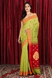 CHARTREUSE GREEN PURE COTTON SAREE WITH ALLOVER WEAVE & MAROON PALLU